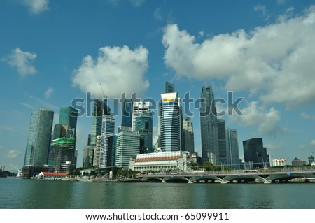 Singapore skyline and river at daytime