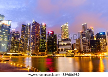 Singapore Skyline and view of Marina Bay - stock photo