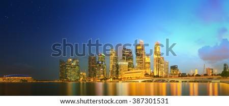 Singapore Skyline and view of Marina Bay - stock photo