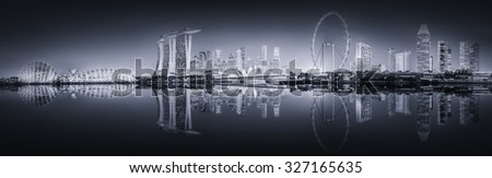 Singapore Skyline and view of skyscrapers on Marina Bay, black and white  - stock photo
