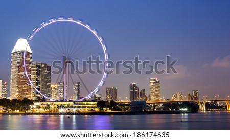 Singapore Skyline at Dusk - stock photo