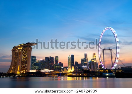 Singapore Skyline at dusk. - stock photo
