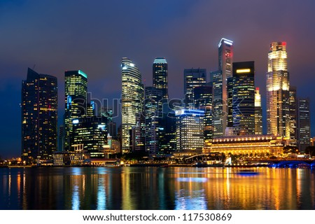 Singapore skyline at night.