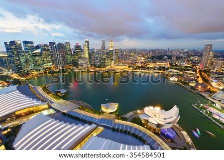 Singapore skyline at night - stock photo