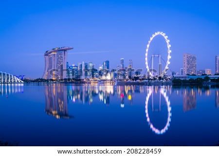 Singapore skyline at night, view from the Garden by the Bay.  - stock photo