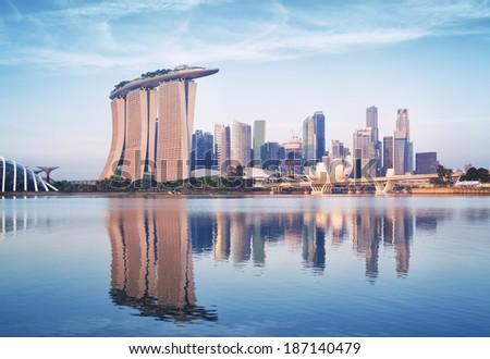 Singapore skyline at sunrise. - stock photo