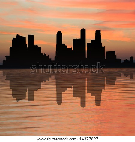 Singapore skyline at sunset with beautiful sky illustration