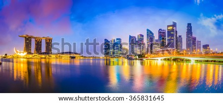 Singapore skyline at the bay.