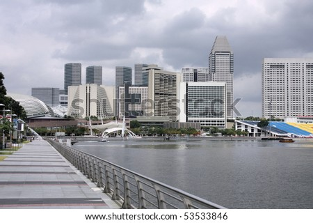 Singapore skyline - hotel district. Skyscrapers in modern Asian city. - stock photo