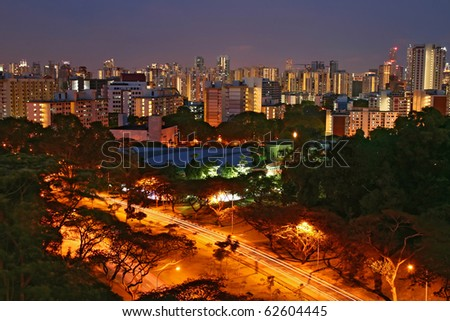 Singapore Skyline in Residence District. - stock photo