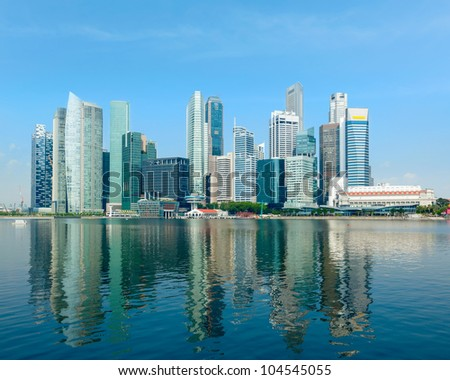 Singapore skyline of business district and Marina Bay in day - stock photo