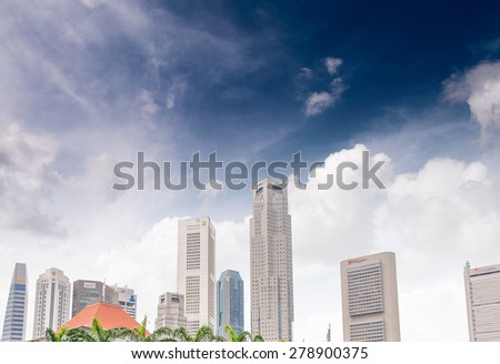 Singapore skyline on a beautiful summer day.