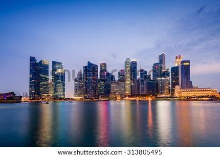Singapore skyline on Marina Bay. - stock photo