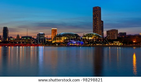 Singapore skyline panorama at Marina Bay in the evening