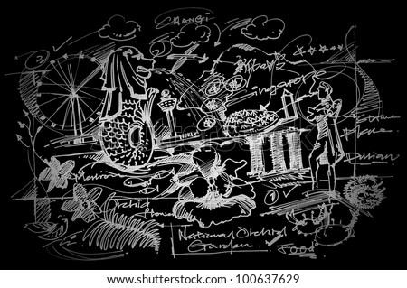 Singapore travel background on blackboard. - stock photo