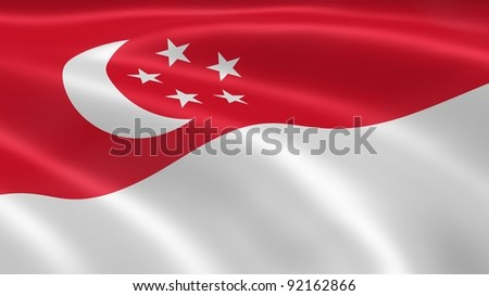 Singaporean flag in the wind. Part of a series. - stock photo