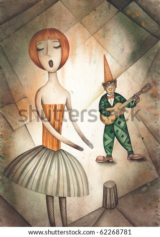 Singer and harlequin playing guitar - stock photo