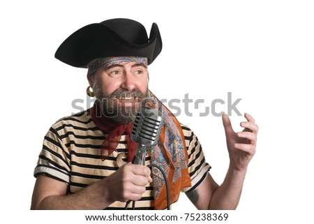 Singer dressed as sea pirate sings in an old microphone. - stock photo
