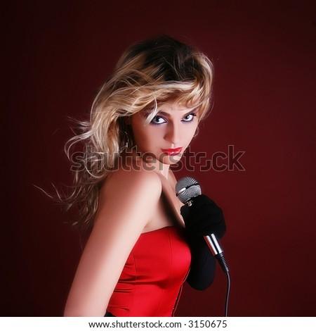 singer girl - stock photo
