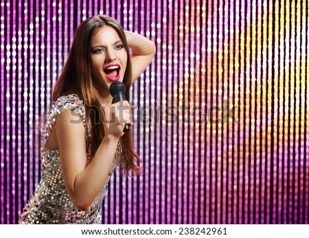 Singer in the club - stock photo