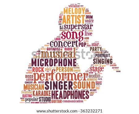 Singer performer, word cloud concept on white background - stock photo