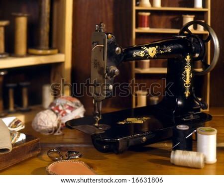 Singer Sewing - stock photo