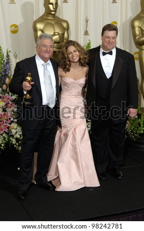 Singer/songwriter RANDY NEWMAN (left) with actress JENNIFER LOPEZ & actor JOHN GOODMAN at the 74th Annual Academy Awards in Hollywood. 24MARR2002.   Paul Smith / Featureflash - stock photo