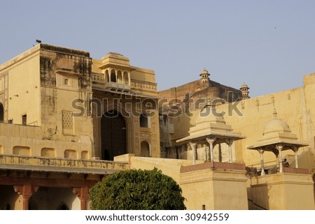 Singh Pol. Entrance to the inner courtyard of Amber Fort nearJaipur in Rajasthan, India.