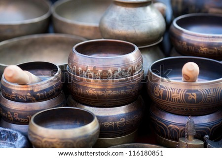 Singing Bowls (Cup of life) - popular mass product souvenier in Nepal, Tibet and India - stock photo