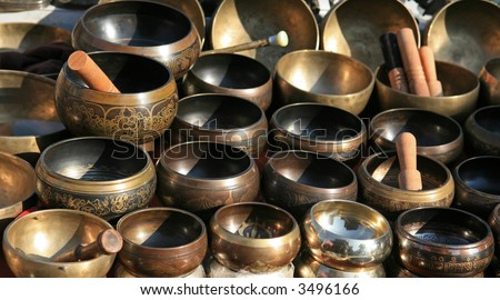 Singing bowls - popular souvenir in Nepal and India - stock photo