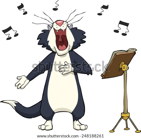 Singing cat on a white background raster version - stock photo