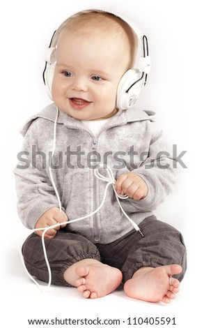 Singing child in headphones
