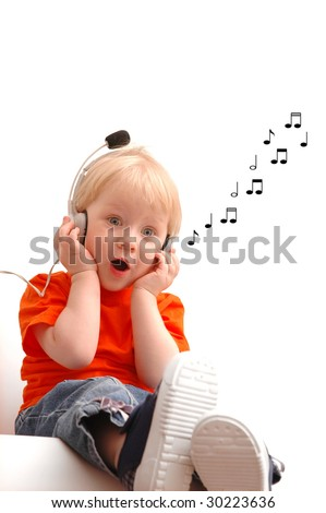 Singing child of two years old - stock photo
