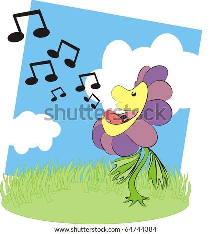 Singing flower colorful raster illustration - stock photo