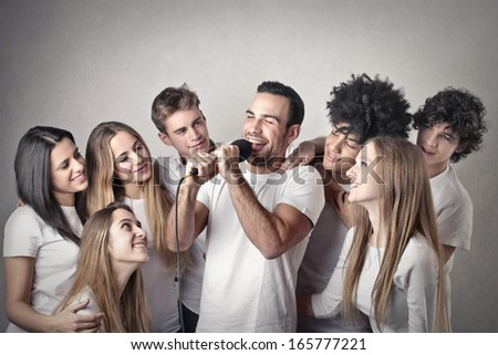 Singing Friends - stock photo