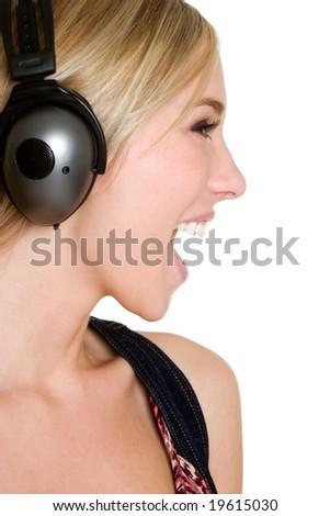 Singing Headphones Girl - stock photo