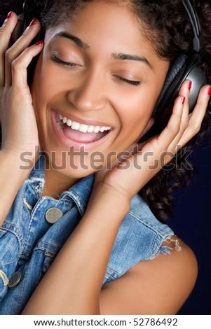 Singing Headphones Woman - stock photo