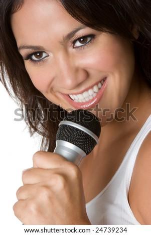 Singing Latina Woman - stock photo