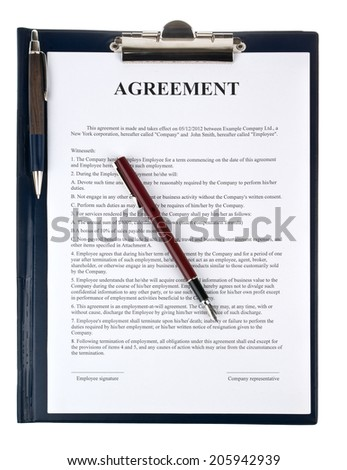 Singing the contract (agreement) - stock photo