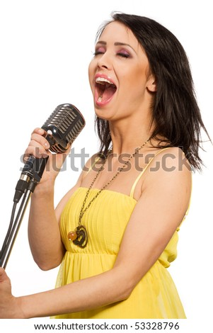 Singing woman isolated on white