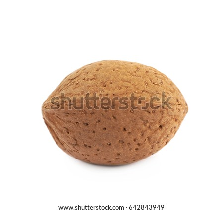 Single almond nut isolated over the white background