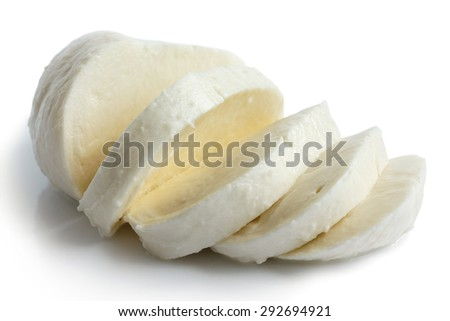 Single ball of mozzarella cheese sliced and isolated on white. - stock photo