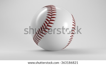 Single Baseball Ball with Shadow on White Background 3D Illustration - stock photo