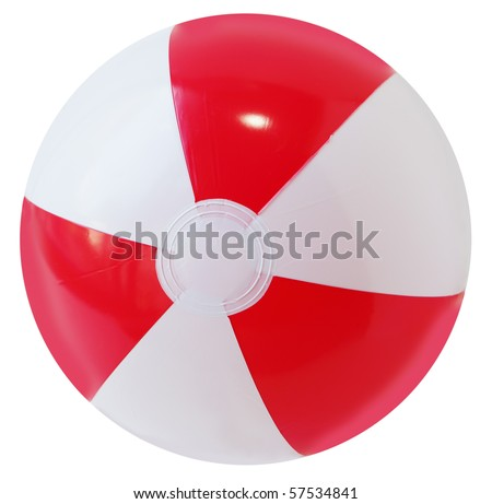 Single beach ball isolated on white background - stock photo