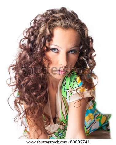 Single beautiful woman  isolated on the white - stock photo