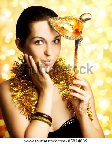 single beautiful woman with carnival mask - stock photo