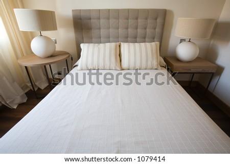 Single bed bedroom - stock photo