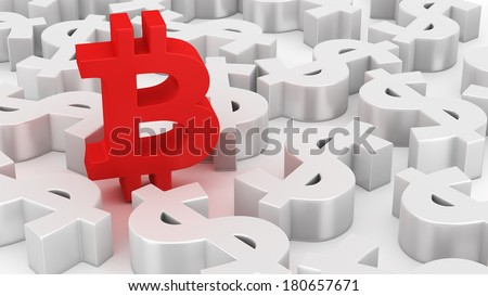 Single Bitcoin symbol among many dollar symbols