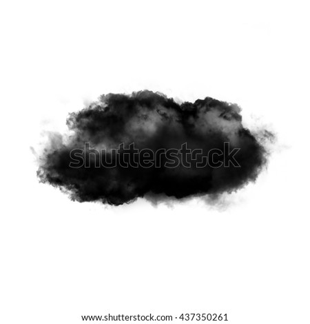 Single black cloud shape isolated over white background, abstract illustration - stock photo
