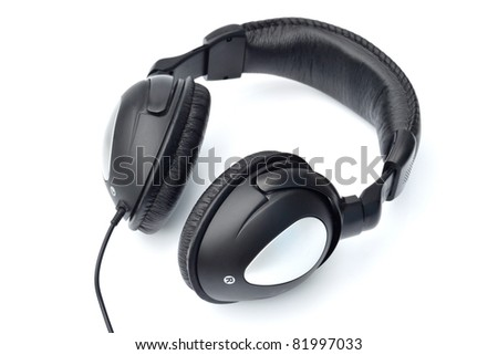 single black color headphone on white background.